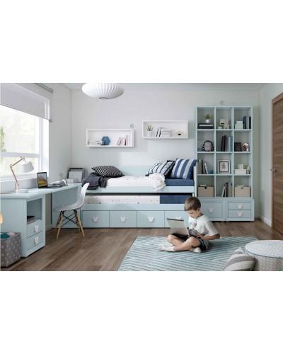 Dormitorio Juvenil infantil colonial moderno diseño 1374-16