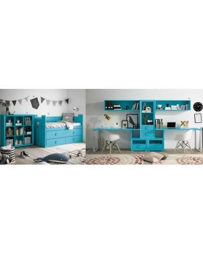 Dormitorio Juvenil infantil colonial moderno diseño 1374-18