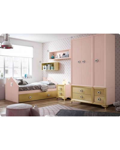 Dormitorio Juvenil infantil colonial moderno diseño 1374-35
