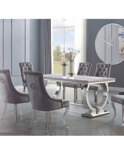 Mesa comedor rectangular acero fija cristal 1362-DT952