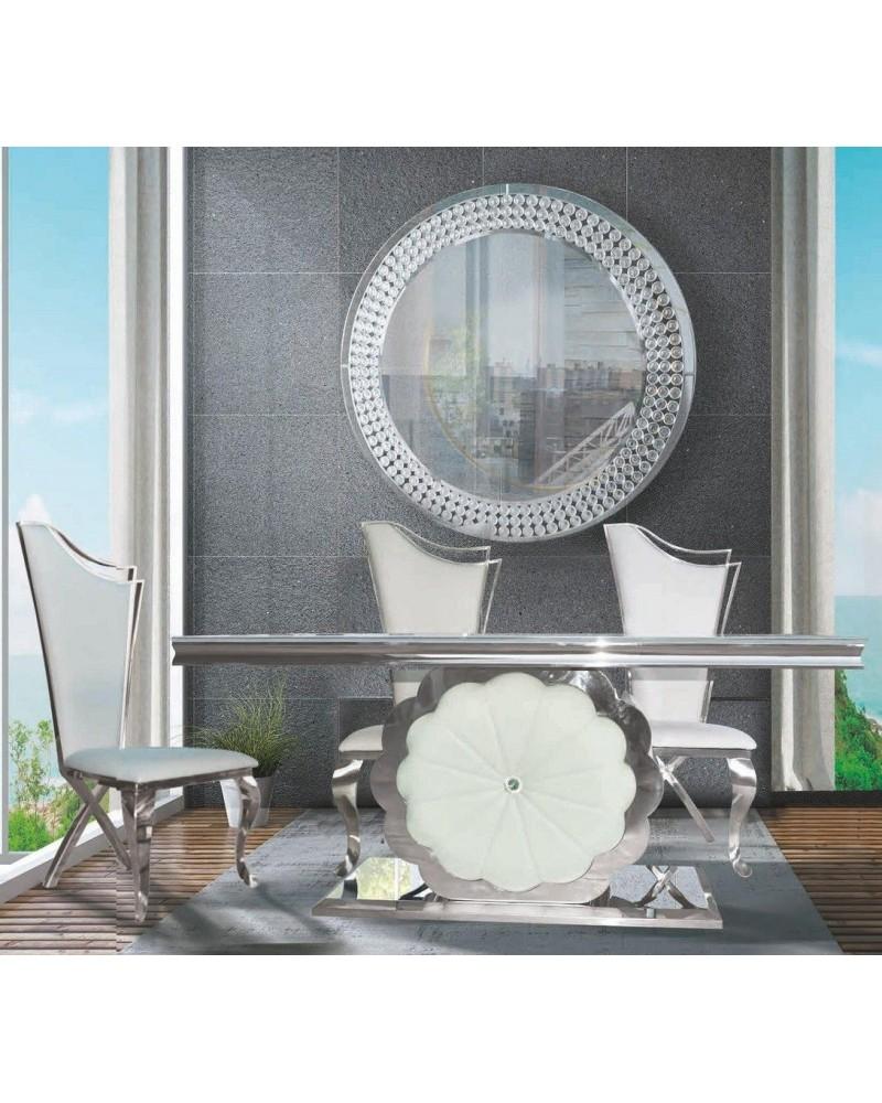 Mesa comedor rectangular acero moderna fija cristal 1362-DT1777