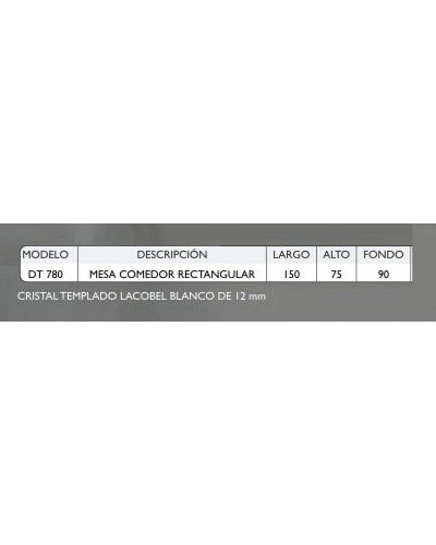 Mesa comedor acero moderna fija cristal 1362-780