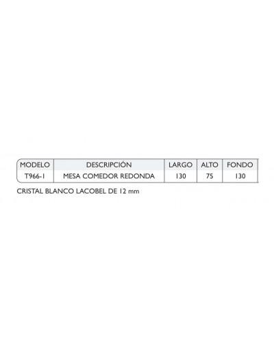 Mesa comedor redonda acero moderna fija cristal 1362-T966-1