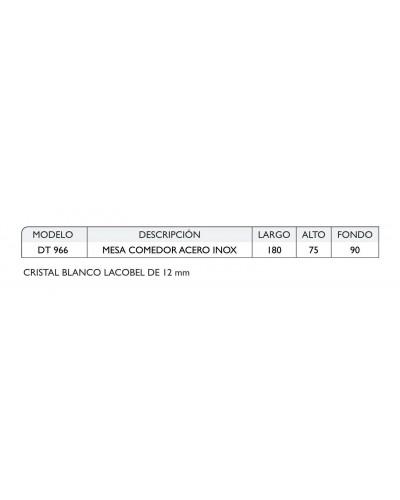 Mesa comedor rectangular acero moderna fija cristal 1362-DT 966