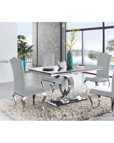 Mesa comedor rectangular acero moderna fija cristal 1362-DT 922