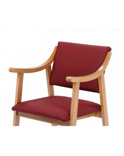 Sillon fijo tapizado y madera moderno 46-01