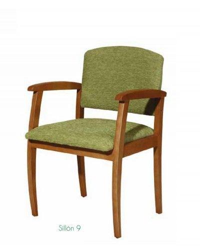 Sillon fijo tapizado madera moderno 46-09