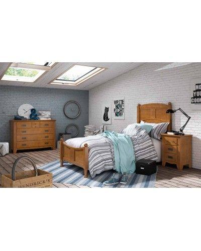 Dormitorio juvenil colonial rustico madera lacado 79-OC292