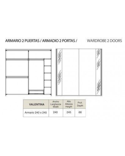 Armario moderno 2 puertas correderas diseño 218-131