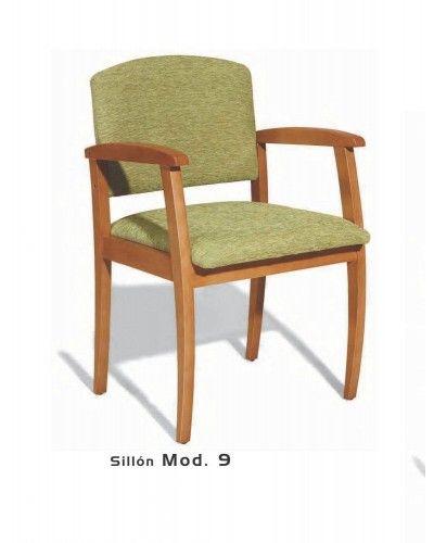 Sillon fijo tapizado y madera moderno 46-09 Mobles Sedavi