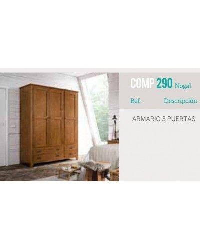 Armario 3 puertas batientes colonial rustico 79-OC290